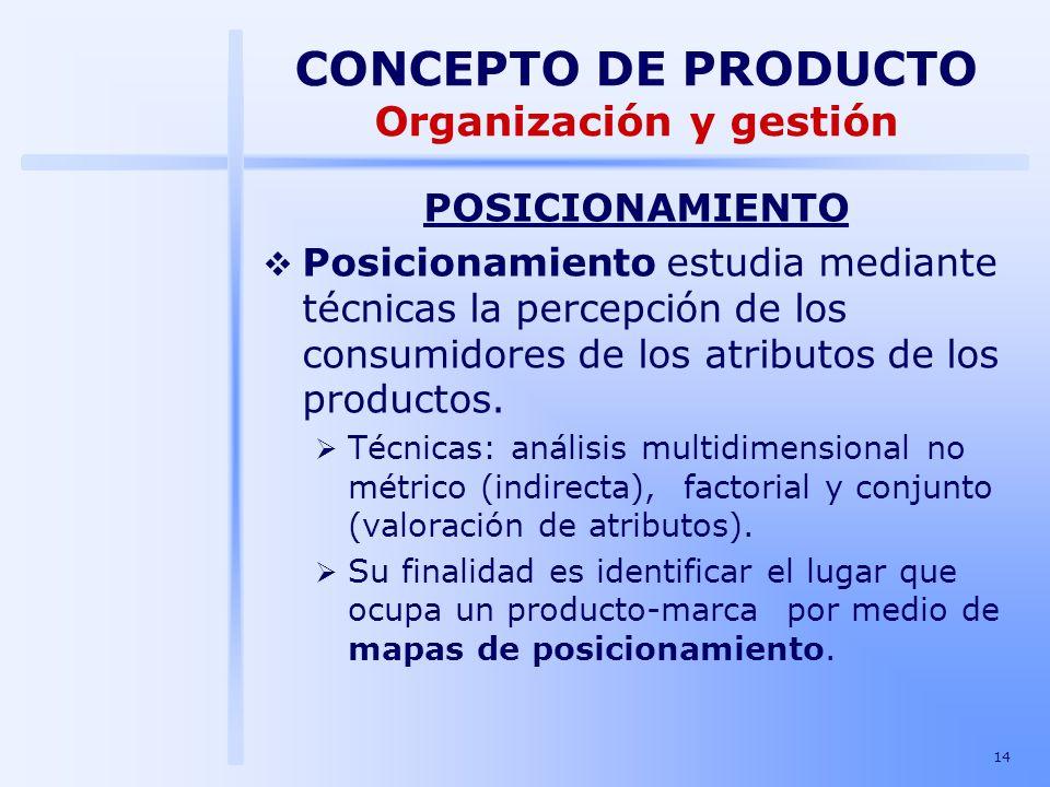 14 POSICIONAMIENTO Posicionamiento estudia mediante técnicas la percepción de los consumidores de los atributos de los productos. Técnicas: análisis m