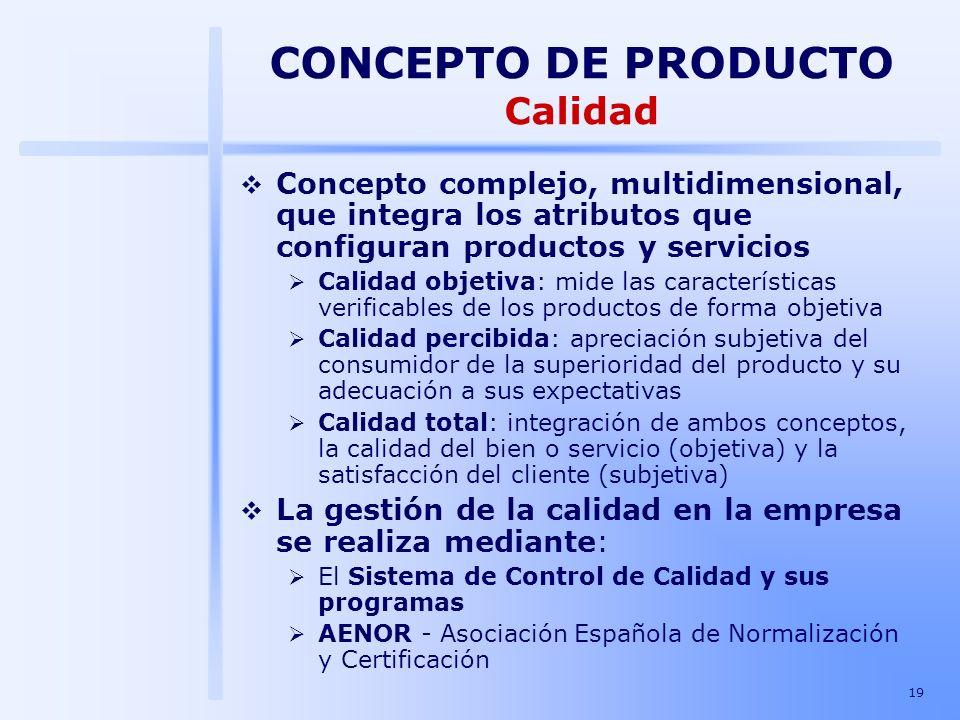 19 CONCEPTO DE PRODUCTO Calidad Concepto complejo, multidimensional, que integra los atributos que configuran productos y servicios Calidad objetiva: