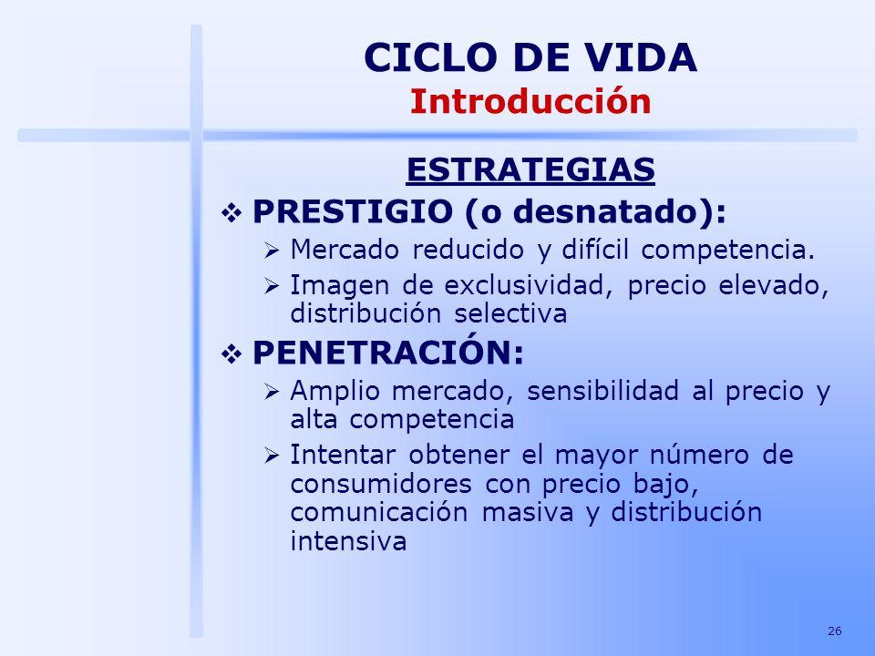 26 ESTRATEGIAS PRESTIGIO (o desnatado): Mercado reducido y difícil competencia. Imagen de exclusividad, precio elevado, distribución selectiva PENETRA