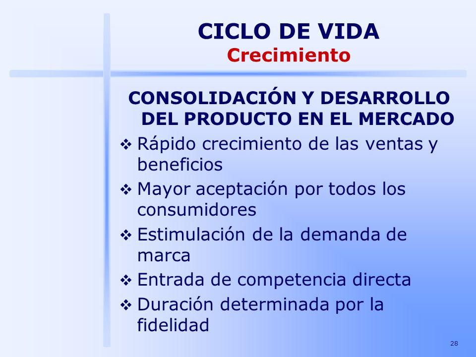28 CONSOLIDACIÓN Y DESARROLLO DEL PRODUCTO EN EL MERCADO Rápido crecimiento de las ventas y beneficios Mayor aceptación por todos los consumidores Est
