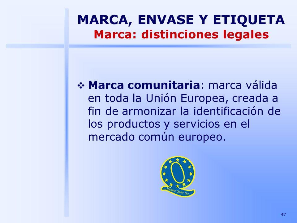 47 Marca comunitaria: marca válida en toda la Unión Europea, creada a fin de armonizar la identificación de los productos y servicios en el mercado co