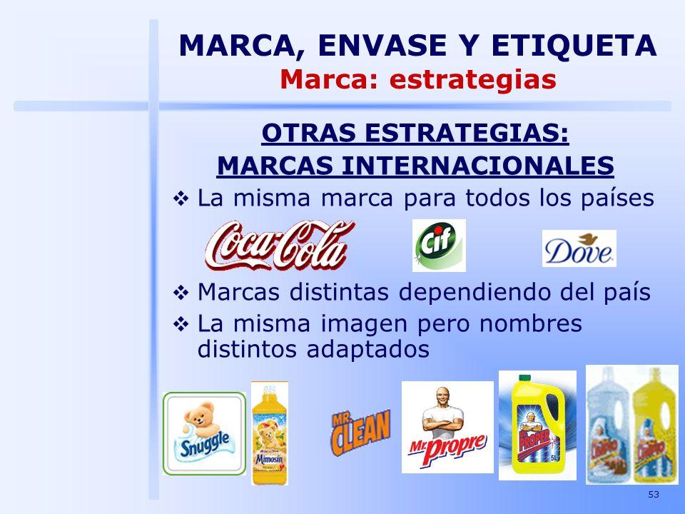 53 OTRAS ESTRATEGIAS: MARCAS INTERNACIONALES La misma marca para todos los países Marcas distintas dependiendo del país La misma imagen pero nombres d