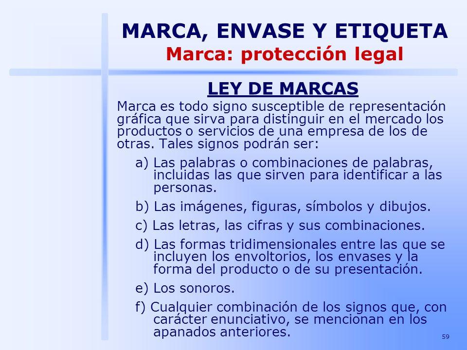 59 LEY DE MARCAS Marca es todo signo susceptible de representación gráfica que sirva para distinguir en el mercado los productos o servicios de una em