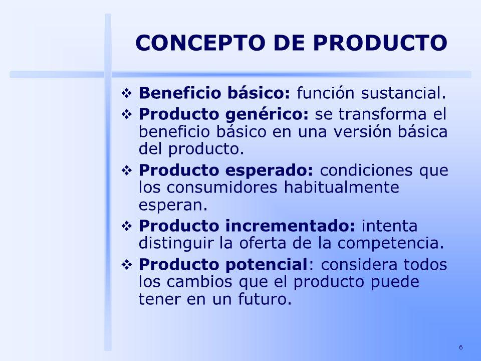 6 Beneficio básico: función sustancial. Producto genérico: se transforma el beneficio básico en una versión básica del producto. Producto esperado: co