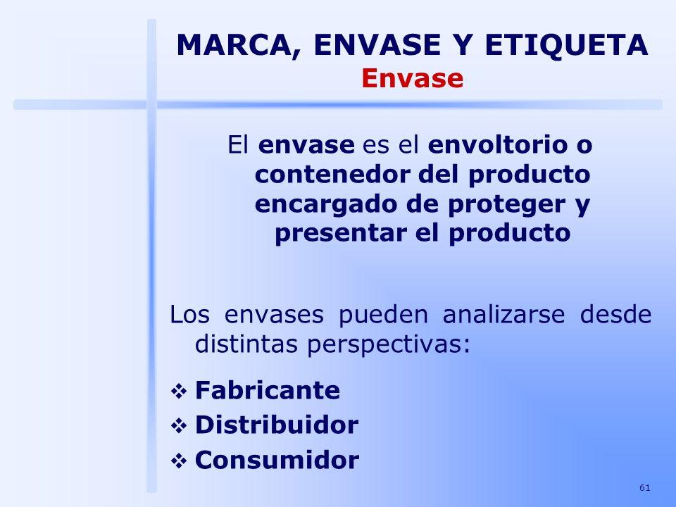 61 El envase es el envoltorio o contenedor del producto encargado de proteger y presentar el producto Los envases pueden analizarse desde distintas pe