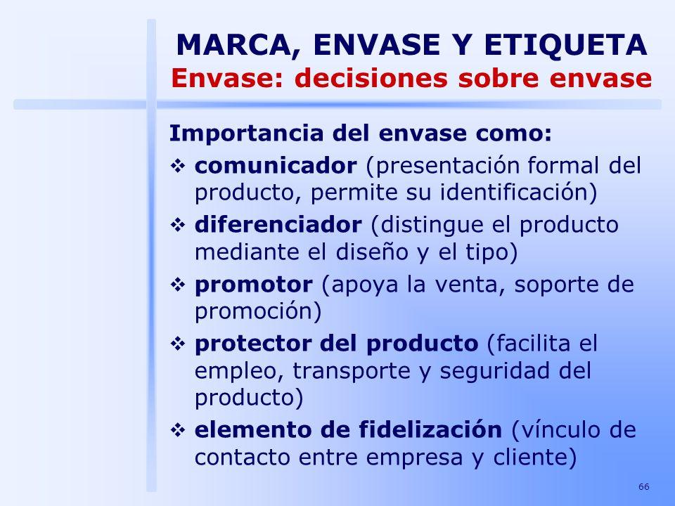 66 Importancia del envase como: comunicador (presentación formal del producto, permite su identificación) diferenciador (distingue el producto mediant