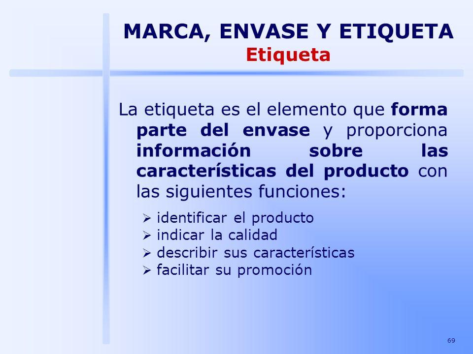 69 La etiqueta es el elemento que forma parte del envase y proporciona información sobre las características del producto con las siguientes funciones