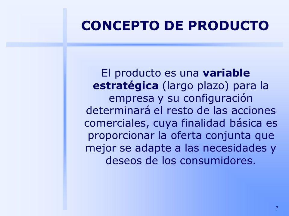 7 El producto es una variable estratégica (largo plazo) para la empresa y su configuración determinará el resto de las acciones comerciales, cuya fina