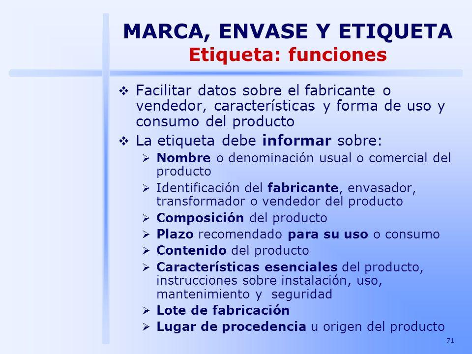 71 Facilitar datos sobre el fabricante o vendedor, características y forma de uso y consumo del producto La etiqueta debe informar sobre: Nombre o den