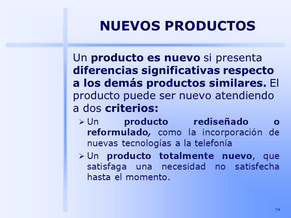 74 Un producto es nuevo si presenta diferencias significativas respecto a los demás productos similares. El producto puede ser nuevo atendiendo a dos