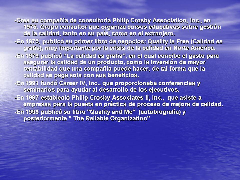 -Crea su compañía de consultoría Philip Crosby Association, Inc., en 1975. Grupo consultor que organiza cursos educativos sobre gestión de la calidad,