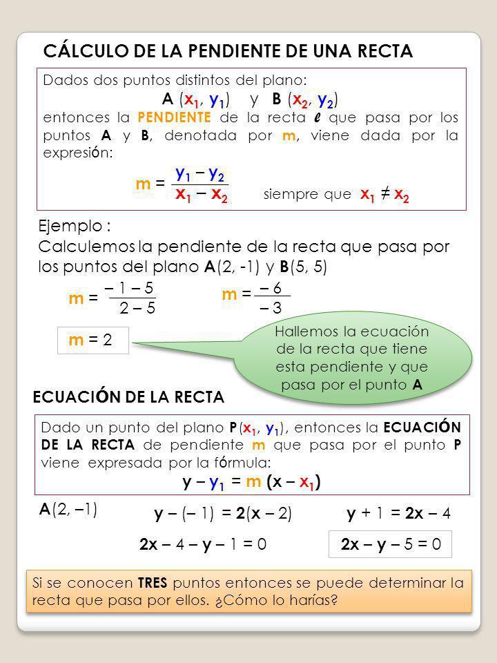 CÁLCULO DE LA PENDIENTE DE UNA RECTA Dados dos puntos distintos del plano: A ( x 1, y 1 ) y B ( x 2, y 2 ) entonces la PENDIENTE de la recta l que pas