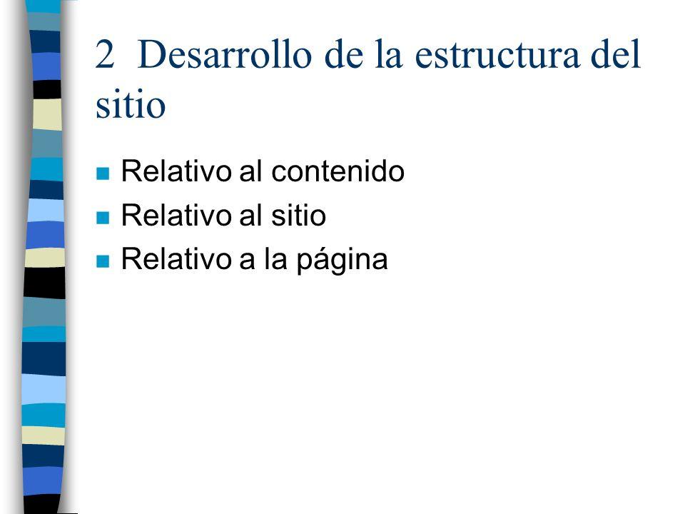 2 Desarrollo de la estructura del sitio n Relativo al contenido n Relativo al sitio n Relativo a la página