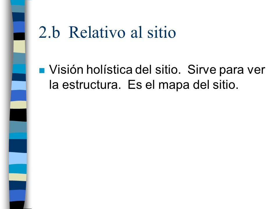 2.b Relativo al sitio n Visión holística del sitio. Sirve para ver la estructura. Es el mapa del sitio.