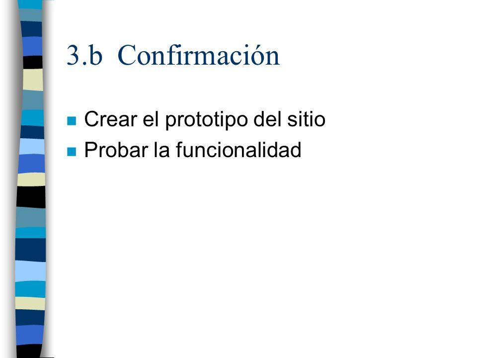 3.b Confirmación n Crear el prototipo del sitio n Probar la funcionalidad