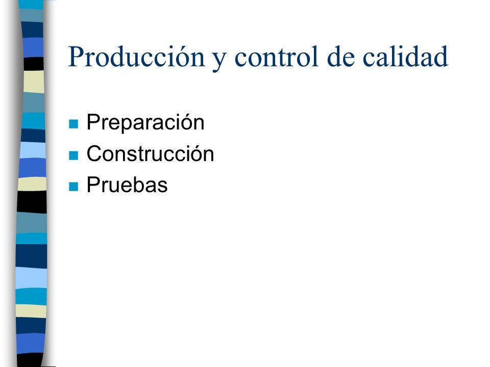 Producción y control de calidad n Preparación n Construcción n Pruebas
