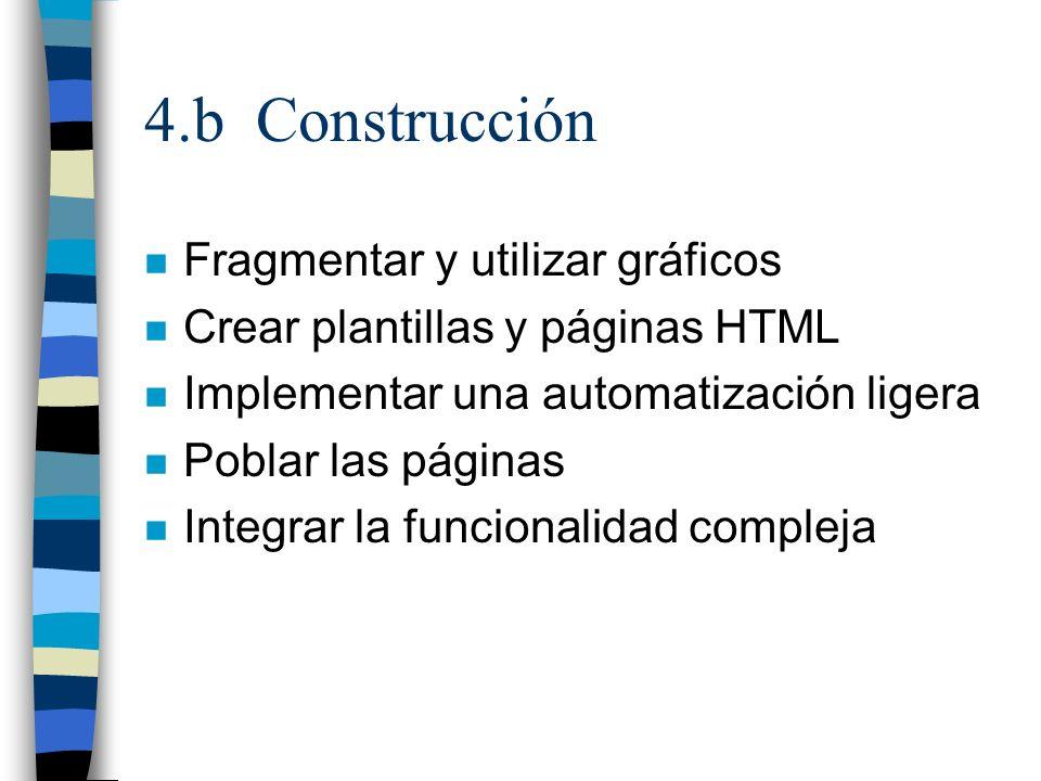 4.b Construcción n Fragmentar y utilizar gráficos n Crear plantillas y páginas HTML n Implementar una automatización ligera n Poblar las páginas n Int
