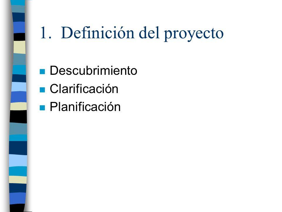 1. Definición del proyecto n Descubrimiento n Clarificación n Planificación