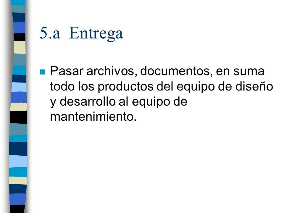 5.a Entrega n Pasar archivos, documentos, en suma todo los productos del equipo de diseño y desarrollo al equipo de mantenimiento.