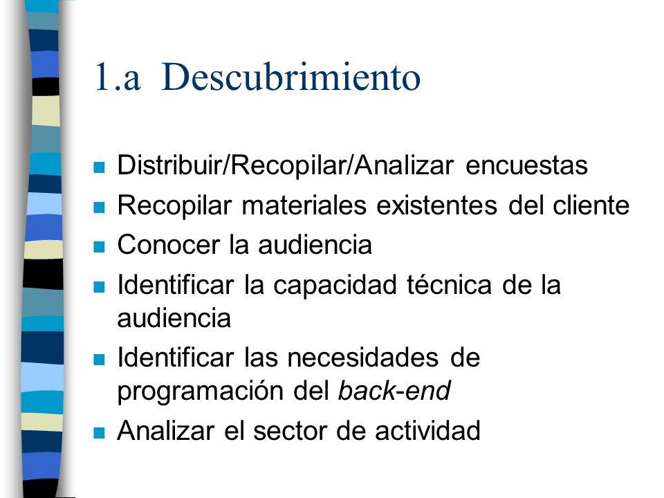 1.a Descubrimiento n Distribuir/Recopilar/Analizar encuestas n Recopilar materiales existentes del cliente n Conocer la audiencia n Identificar la cap