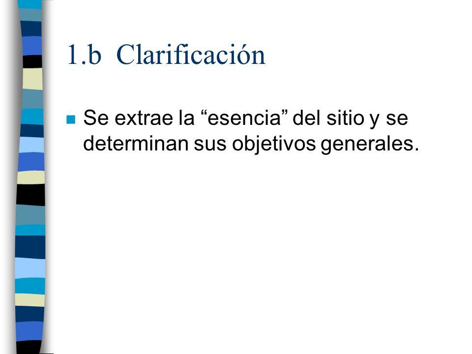 1.b Clarificación n Se extrae la esencia del sitio y se determinan sus objetivos generales.