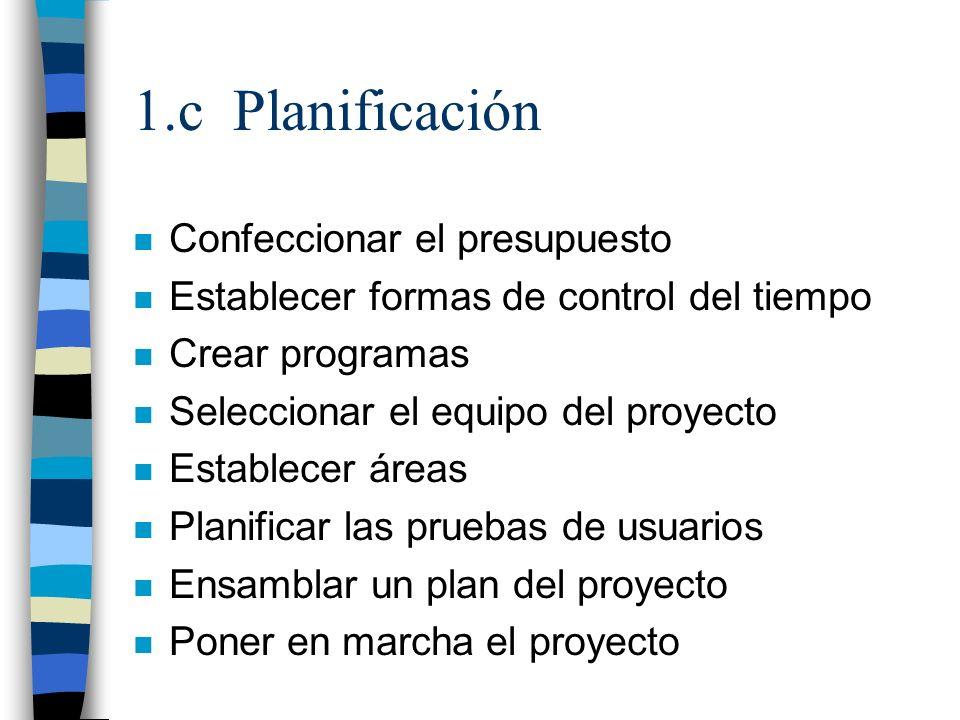 1.c Planificación n Confeccionar el presupuesto n Establecer formas de control del tiempo n Crear programas n Seleccionar el equipo del proyecto n Est