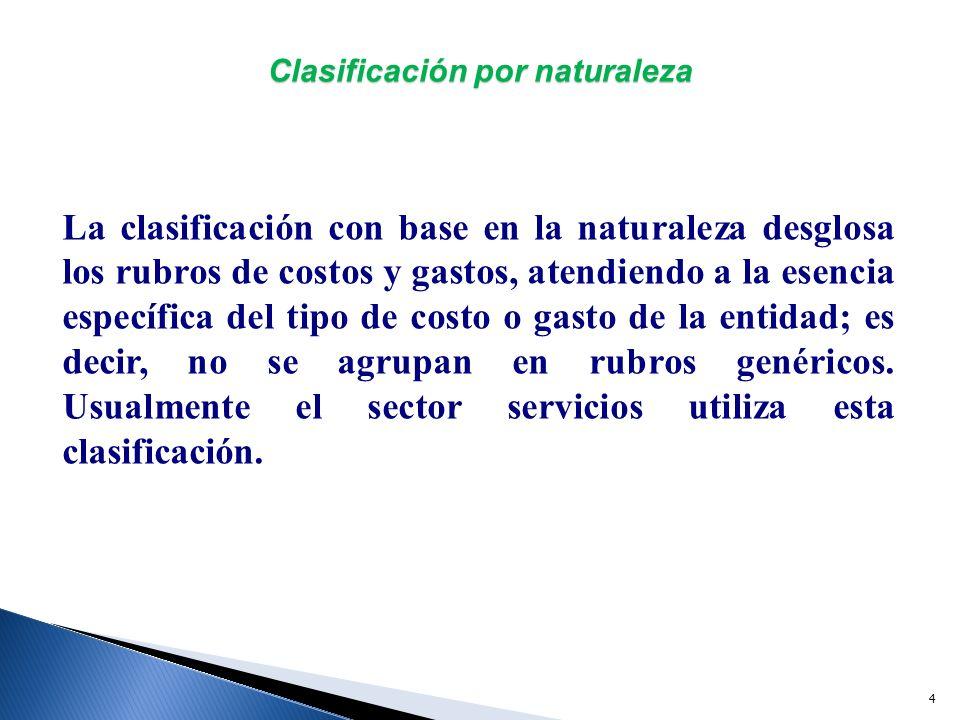 5 Clasificación por naturaleza En una clasificación basada en la naturaleza, los costos y gastos deben desglosarse en sus componentes principales.