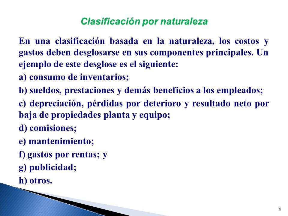 6 Clasificación combinada, por función y por naturaleza Esta NIF permite hacer una presentación que incluya ciertos gastos clasificados por función y algunos otros, clasificados por naturaleza.