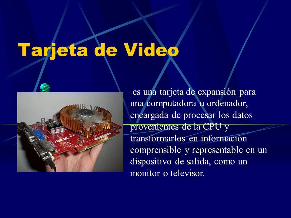 Tarjeta de Video es una tarjeta de expansión para una computadora u ordenador, encargada de procesar los datos provenientes de la CPU y transformarlos