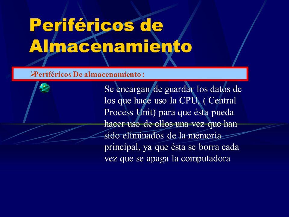 Periféricos de Almacenamiento Se encargan de guardar los datos de los que hace uso la CPU, ( Central Process Unit) para que ésta pueda hacer uso de el