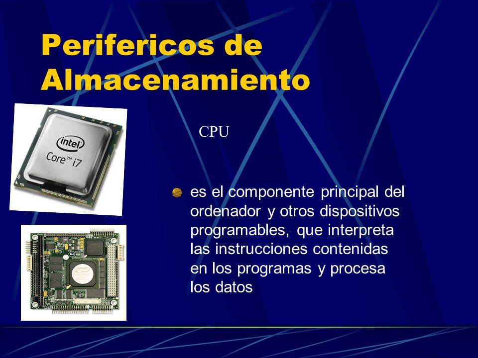 Perifericos de Almacenamiento es el componente principal del ordenador y otros dispositivos programables, que interpreta las instrucciones contenidas