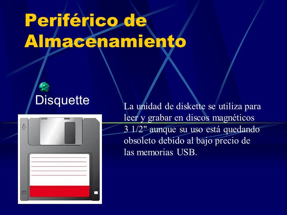 Periférico de Almacenamiento Disquette La unidad de diskette se utiliza para leer y grabar en discos magnéticos 3 1/2