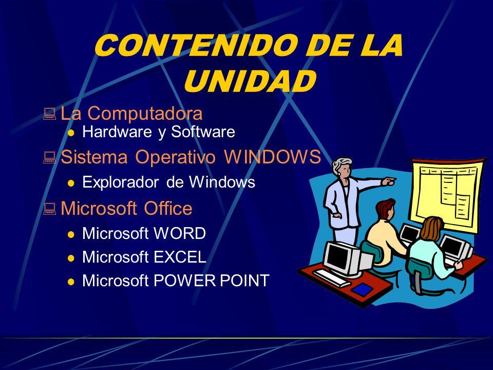 CONTENIDO DE LA UNIDAD La Computadora Hardware y Software Sistema Operativo WINDOWS Explorador de Windows Microsoft Office Microsoft WORD Microsoft EX