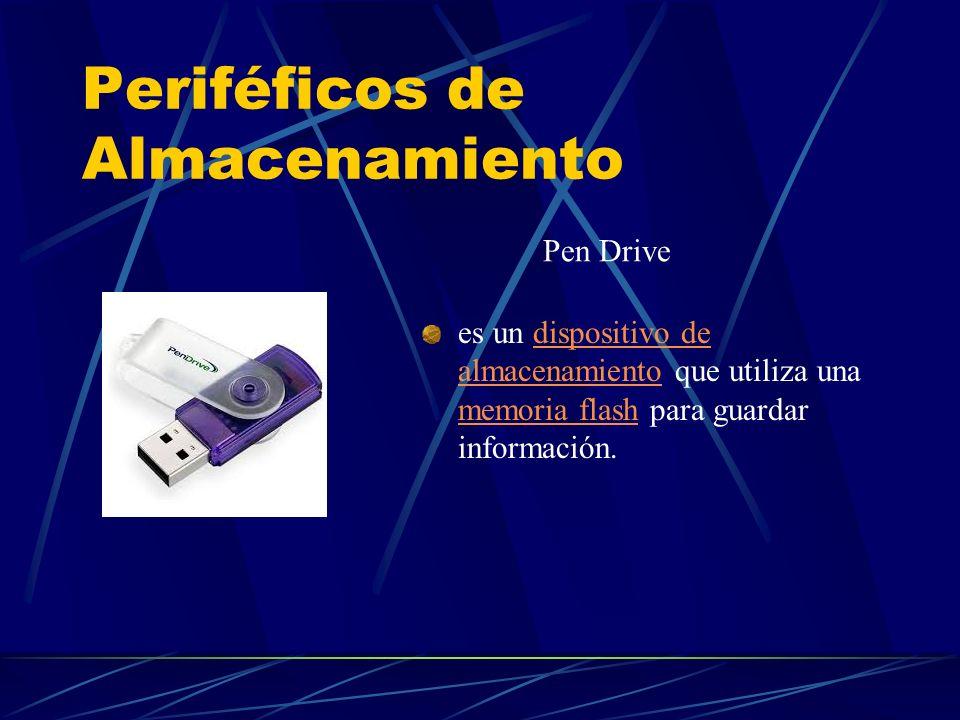 Periféficos de Almacenamiento es un dispositivo de almacenamiento que utiliza una memoria flash para guardar información.dispositivo de almacenamiento