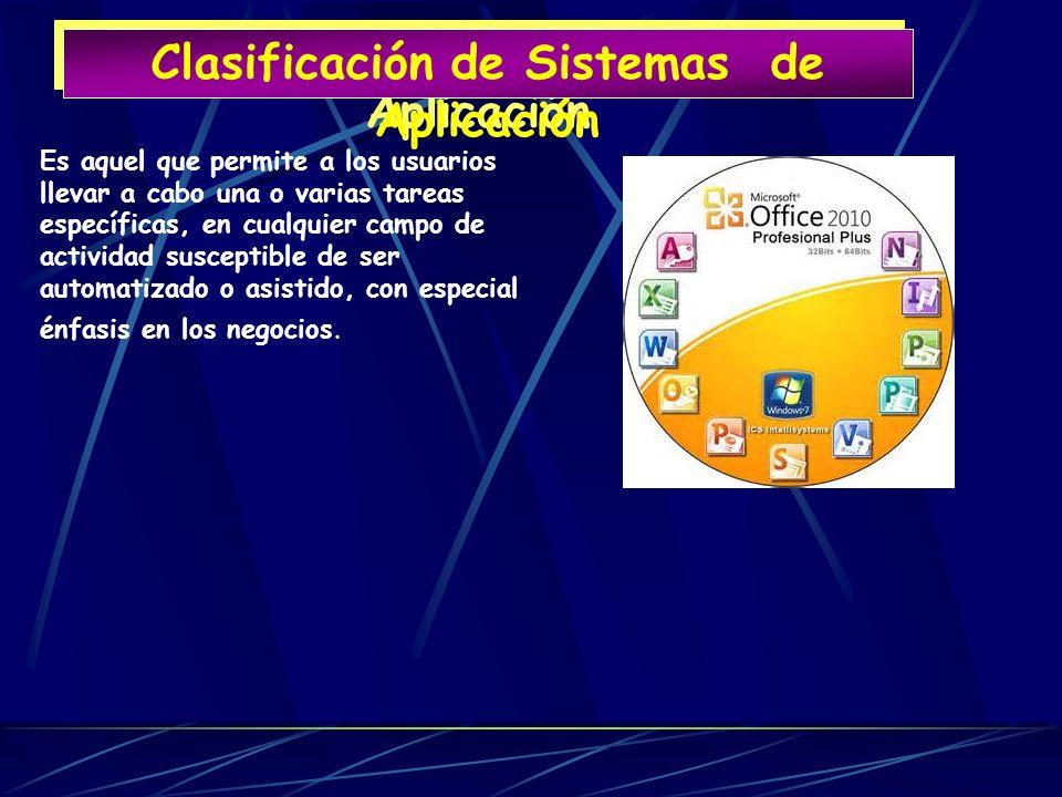 Clasificación de Sistemas de Aplicación Clasificación de Sistemas de Aplicación Es aquel que permite a los usuarios llevar a cabo una o varias tareas
