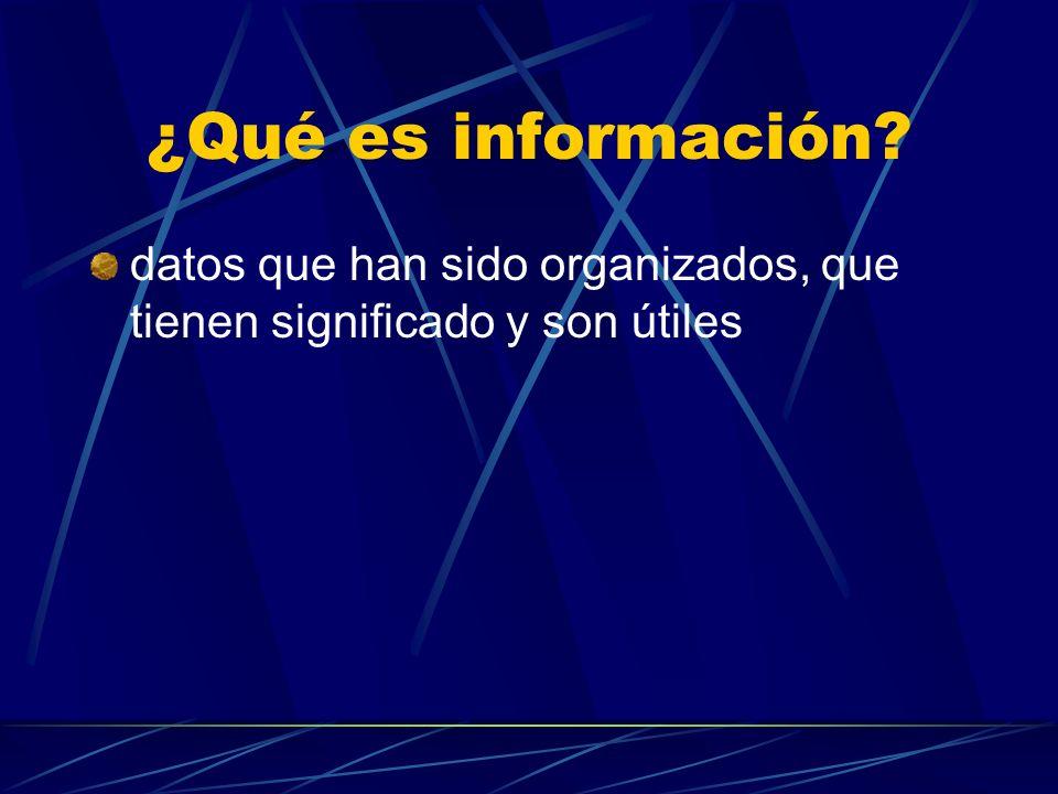 ¿Qué es información? datos que han sido organizados, que tienen significado y son útiles