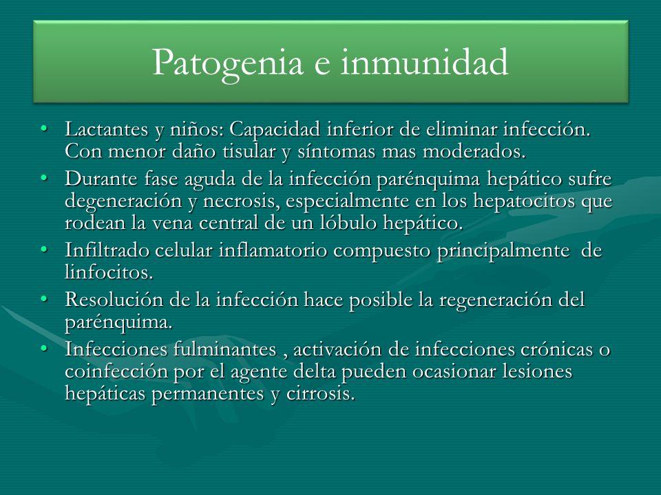 Lactantes y niños: Capacidad inferior de eliminar infección. Con menor daño tisular y síntomas mas moderados.Lactantes y niños: Capacidad inferior de