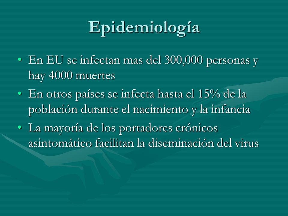 Epidemiología En EU se infectan mas del 300,000 personas y hay 4000 muertesEn EU se infectan mas del 300,000 personas y hay 4000 muertes En otros país