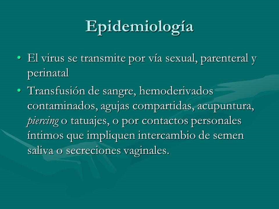 Epidemiología El virus se transmite por vía sexual, parenteral y perinatalEl virus se transmite por vía sexual, parenteral y perinatal Transfusión de