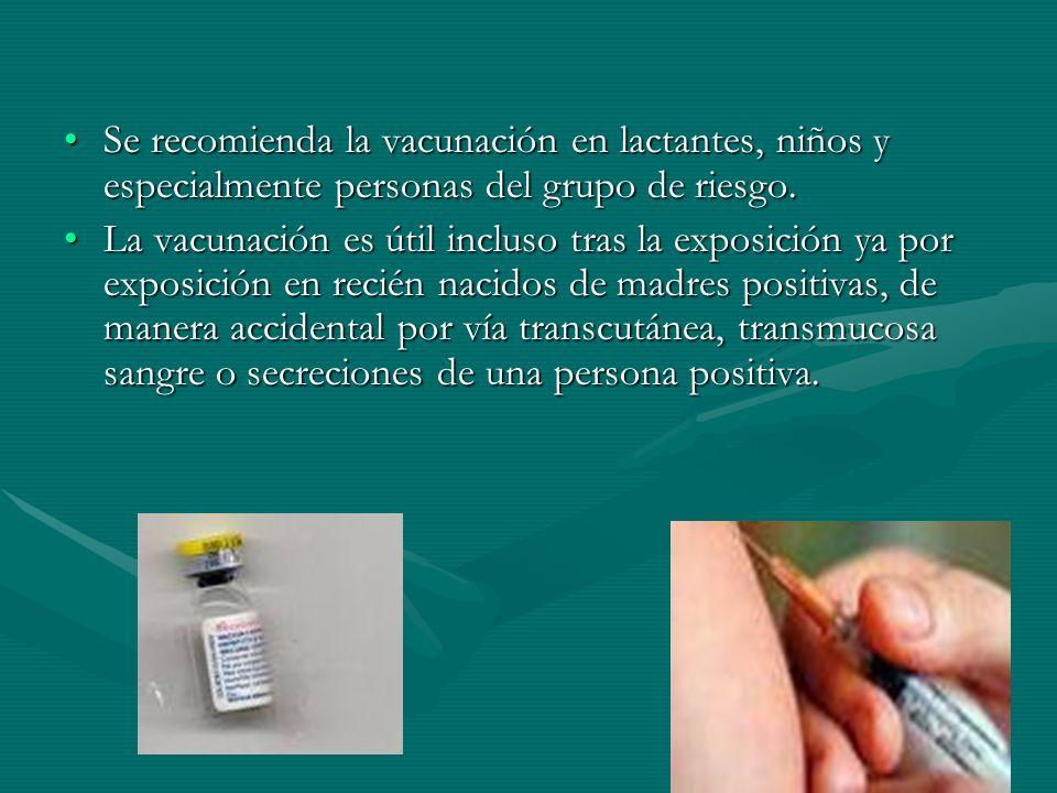 Se recomienda la vacunación en lactantes, niños y especialmente personas del grupo de riesgo.Se recomienda la vacunación en lactantes, niños y especia