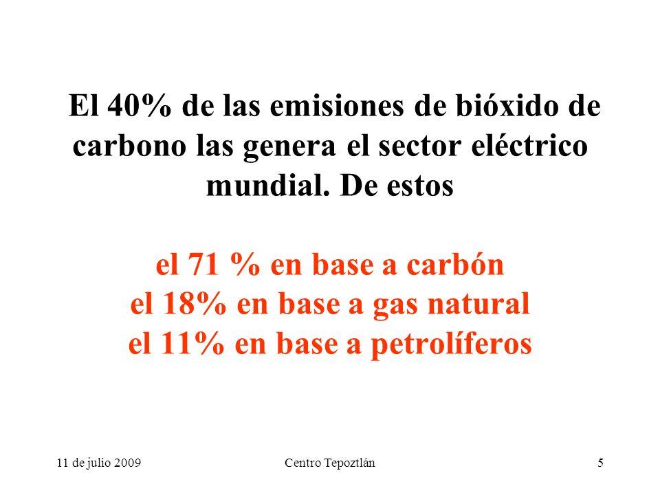 11 de julio 2009Centro Tepoztlán5 El 40% de las emisiones de bióxido de carbono las genera el sector eléctrico mundial.
