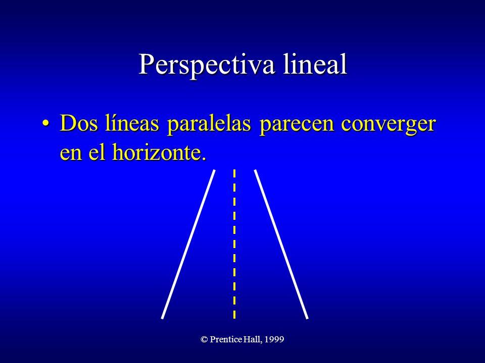 © Prentice Hall, 1999 Perspectiva lineal Dos líneas paralelas parecen converger en el horizonte.Dos líneas paralelas parecen converger en el horizonte