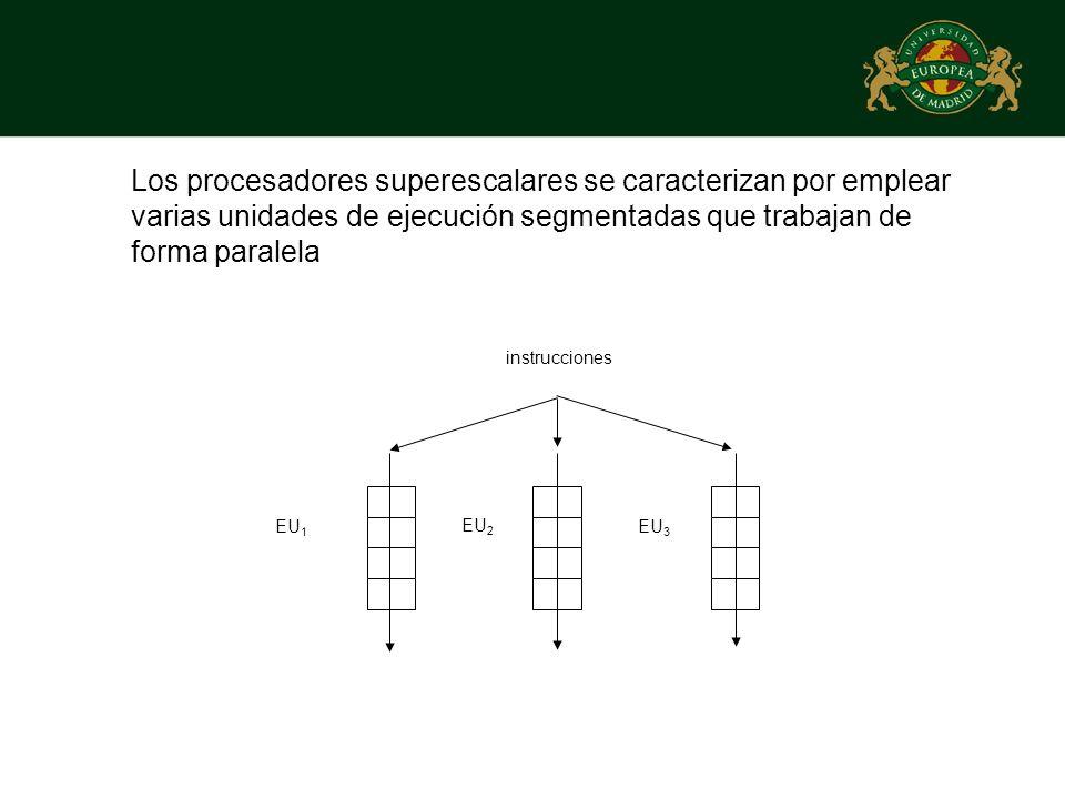 Los procesadores superescalares se caracterizan por emplear varias unidades de ejecución segmentadas que trabajan de forma paralela EU 1 EU 2 EU 3 ins