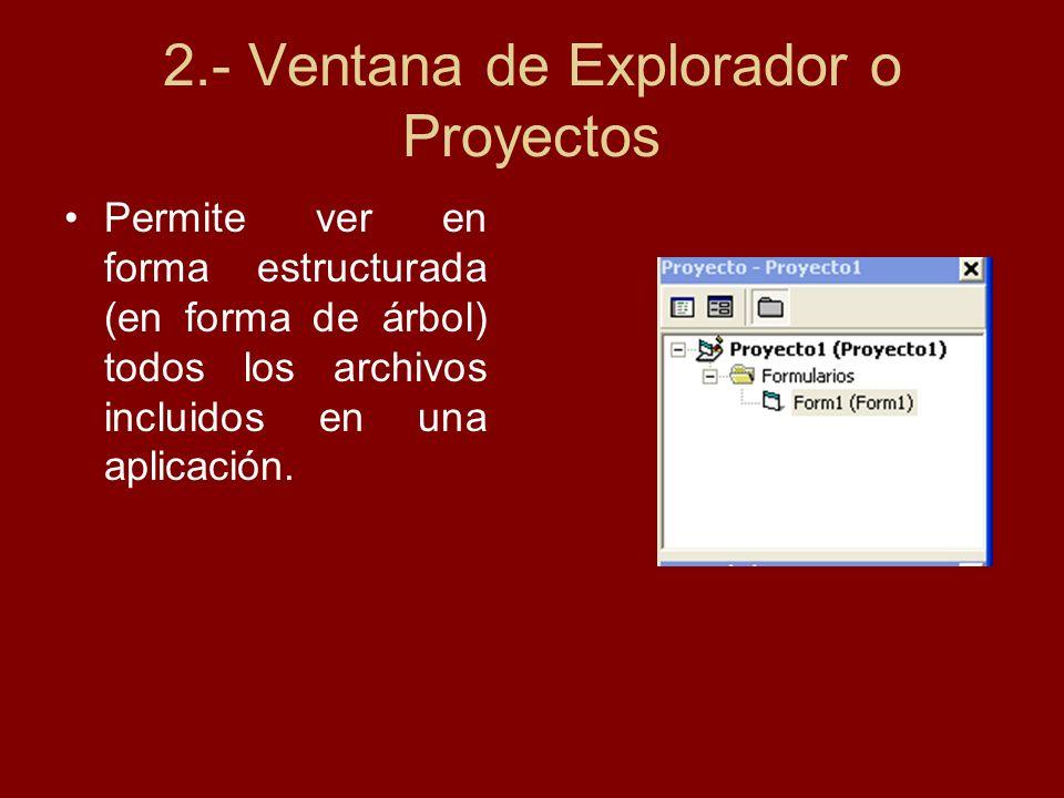 3.- Caja de Herramientas Está conformada por un conjunto de controles utilizados en el diseño de una aplicación, un control es un objeto gráfico que interactúa con el usuario para realizar una operación específica.