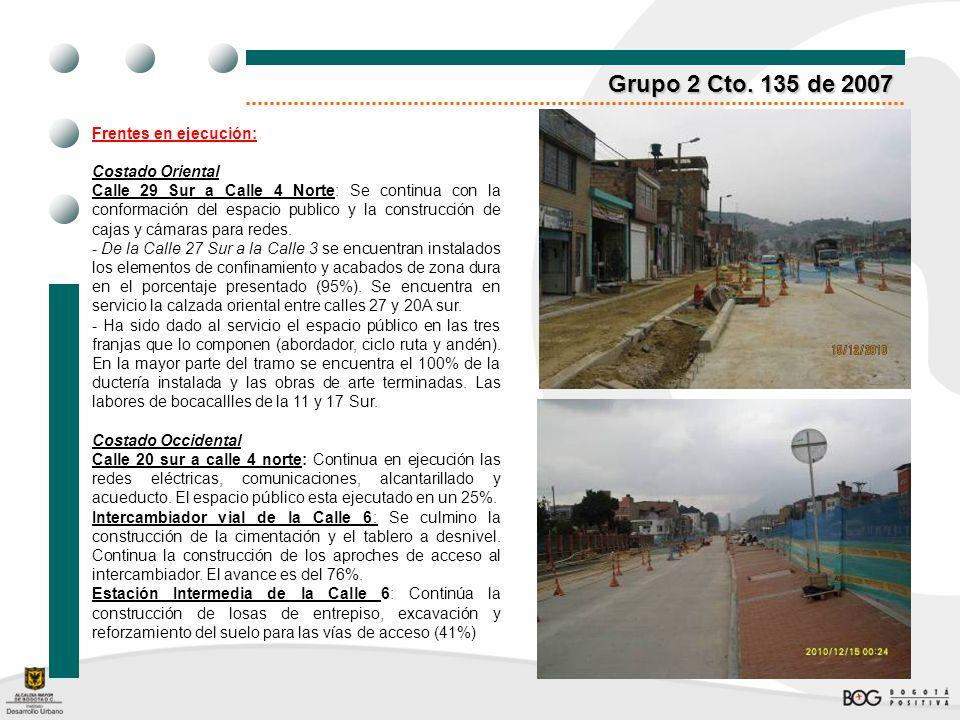 Grupo 2 Cto. 135 de 2007 Frentes en ejecución: Costado Oriental Calle 29 Sur a Calle 4 Norte: Se continua con la conformación del espacio publico y la