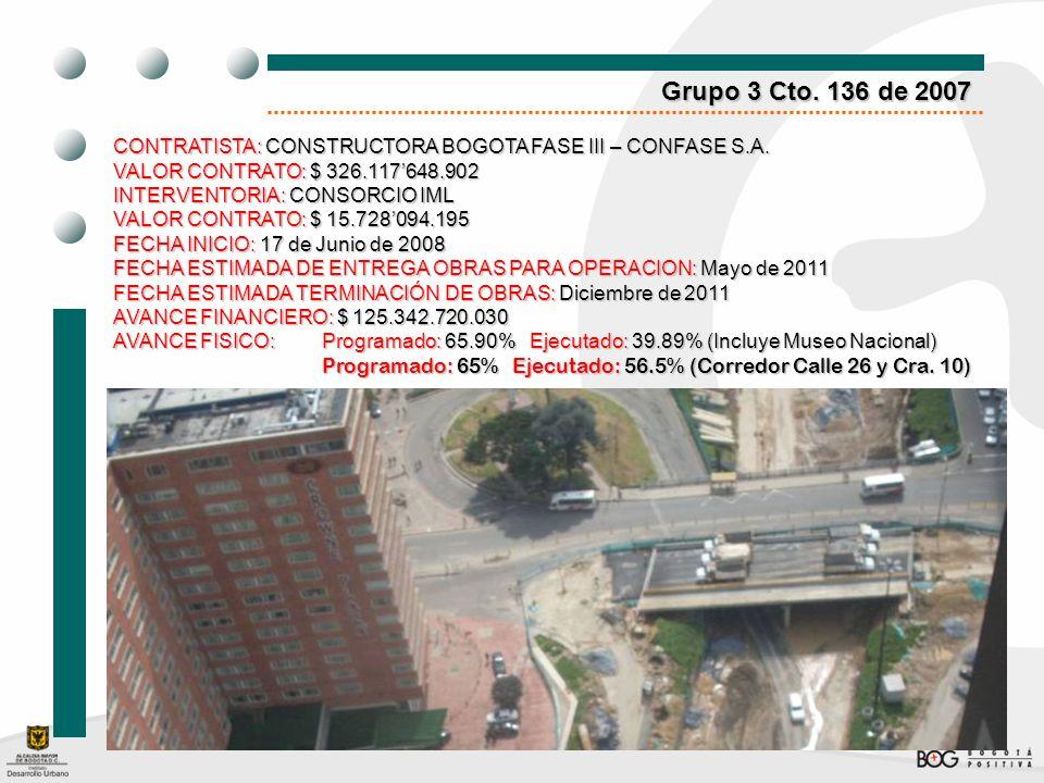Grupo 3 Cto. 136 de 2007 CONTRATISTA: CONSTRUCTORA BOGOTA FASE III – CONFASE S.A. VALOR CONTRATO:$ 326.117648.902 VALOR CONTRATO: $ 326.117648.902 INT