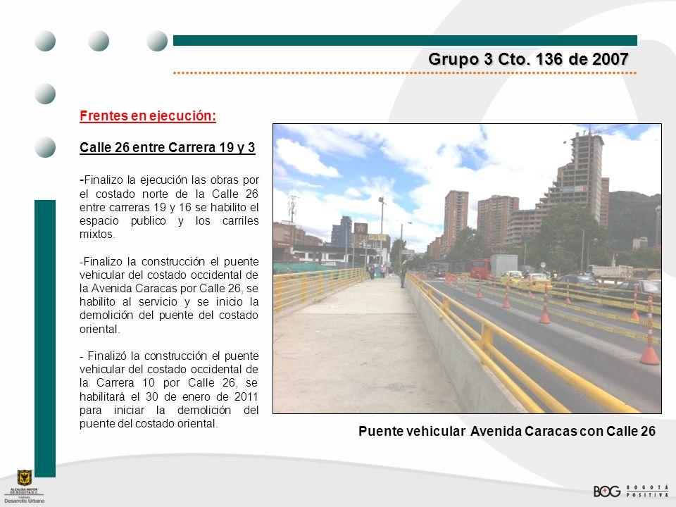 Grupo 3 Cto. 136 de 2007 Frentes en ejecución: Calle 26 entre Carrera 19 y 3 - Finalizo la ejecución las obras por el costado norte de la Calle 26 ent