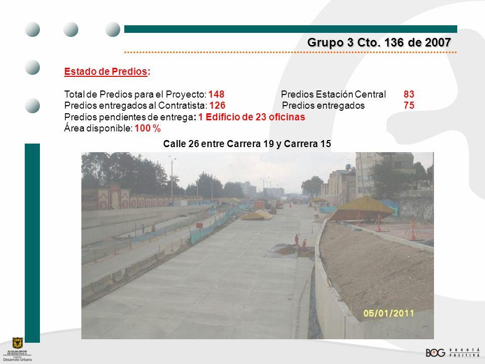 Grupo 3 Cto. 136 de 2007 Estado de Predios: Total de Predios para el Proyecto: 148 Predios Estación Central83 Predios entregados al Contratista: 126 P