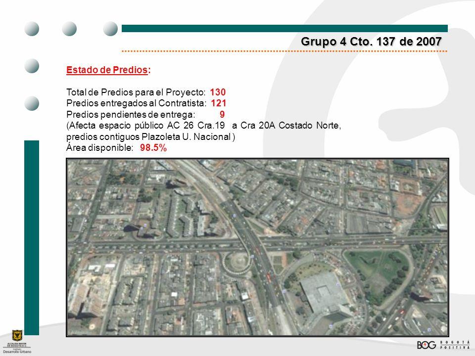 Grupo 4 Cto. 137 de 2007 Estado de Predios: Total de Predios para el Proyecto: 130 Predios entregados al Contratista: 121 Predios pendientes de entreg