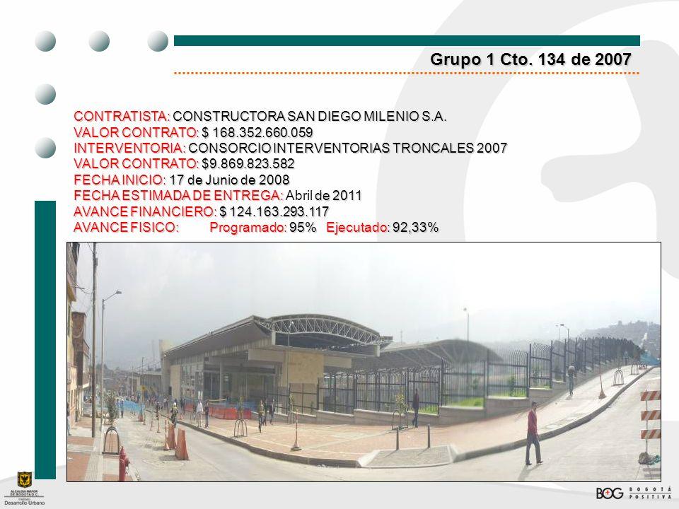 Grupo 1 Cto. 134 de 2007 CONTRATISTA: CONSTRUCTORA SAN DIEGO MILENIO S.A. VALOR CONTRATO:$ 168.352.660.059 VALOR CONTRATO: $ 168.352.660.059 INTERVENT